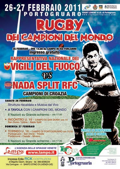 Flyer Portogruaro 2010. Rugby safety in Portogruaro.